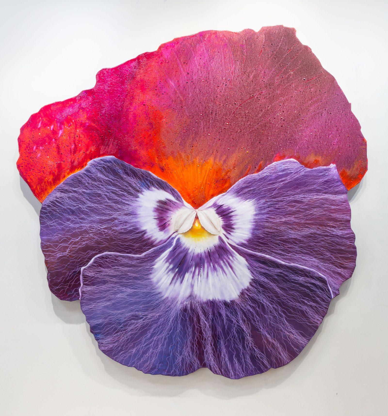 三色堇 I 嬌紅紫媚, Pansy I, 186 x 171 cm, oil on linen, 2014