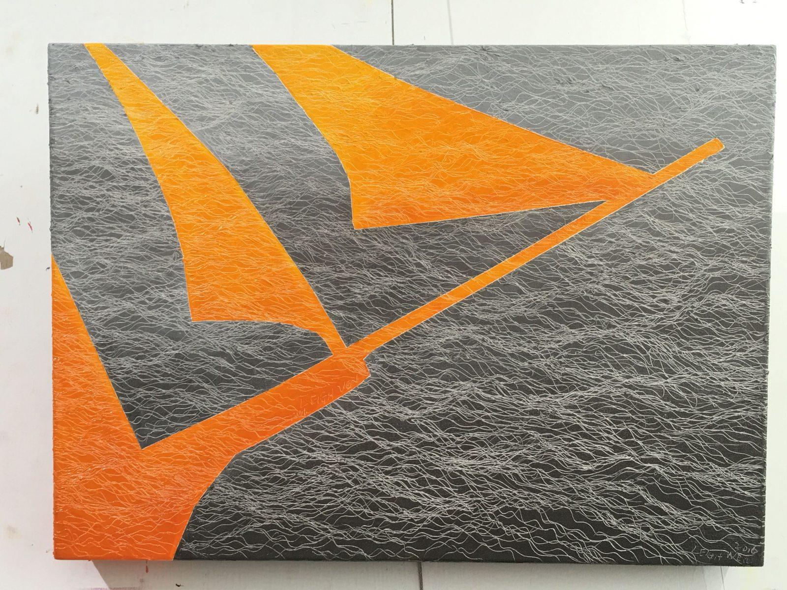 帆行 5, Sail 5, 33 x 45 cm (8P), oil on linen, 2016