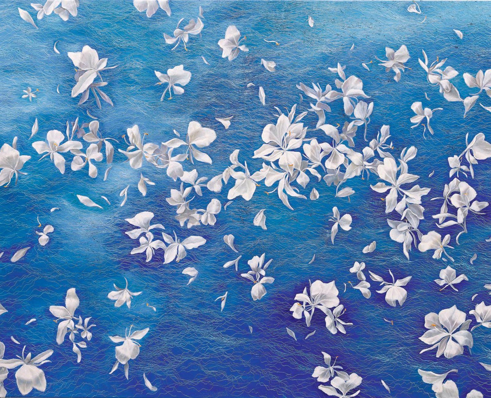 野薑花 白色華麗, White Elegance,130 x 162 cm, oil on canvas, 2015