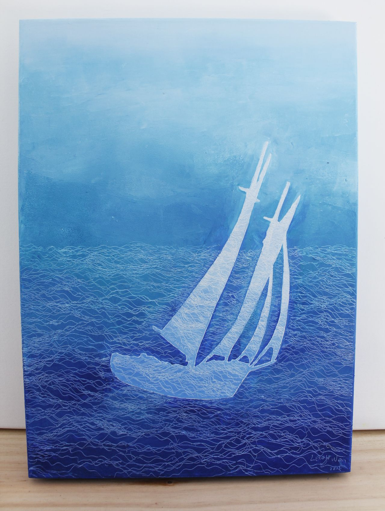 帆行 3, Sail 3, 45 x 33 cm (8P), oil on linen, 2016
