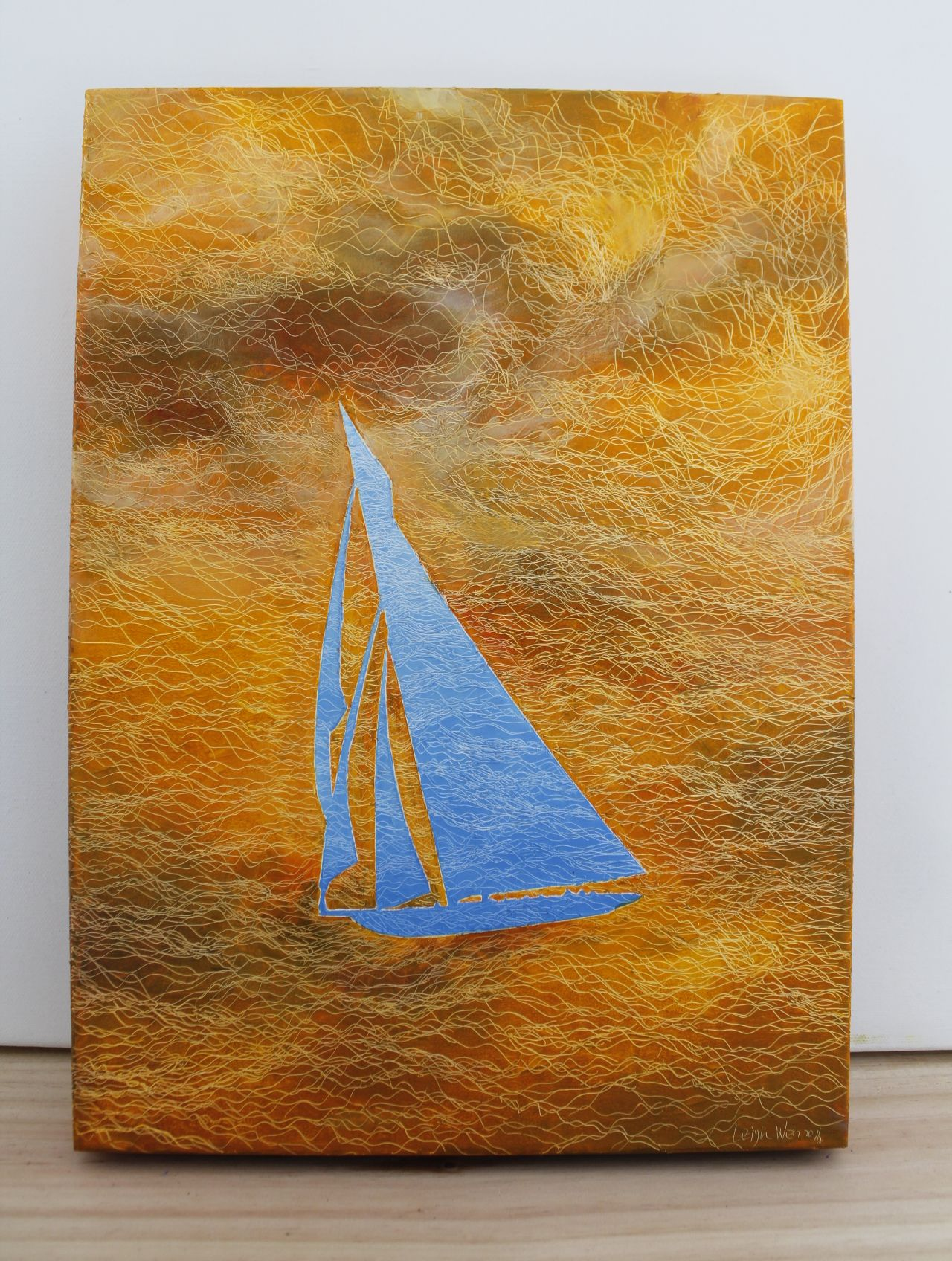 帆行 4, Sail 4, 45 x 33 cm (8P), oil on linen, 2016