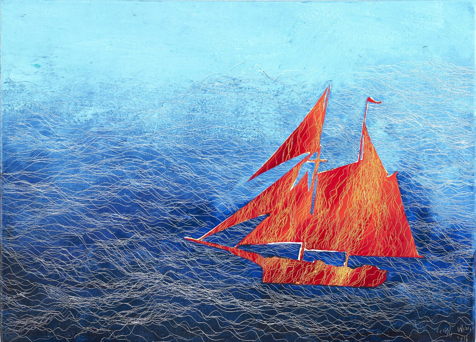 帆行 1, Sail 1, 33 x 45 cm (8P), oil on linen, 2016
