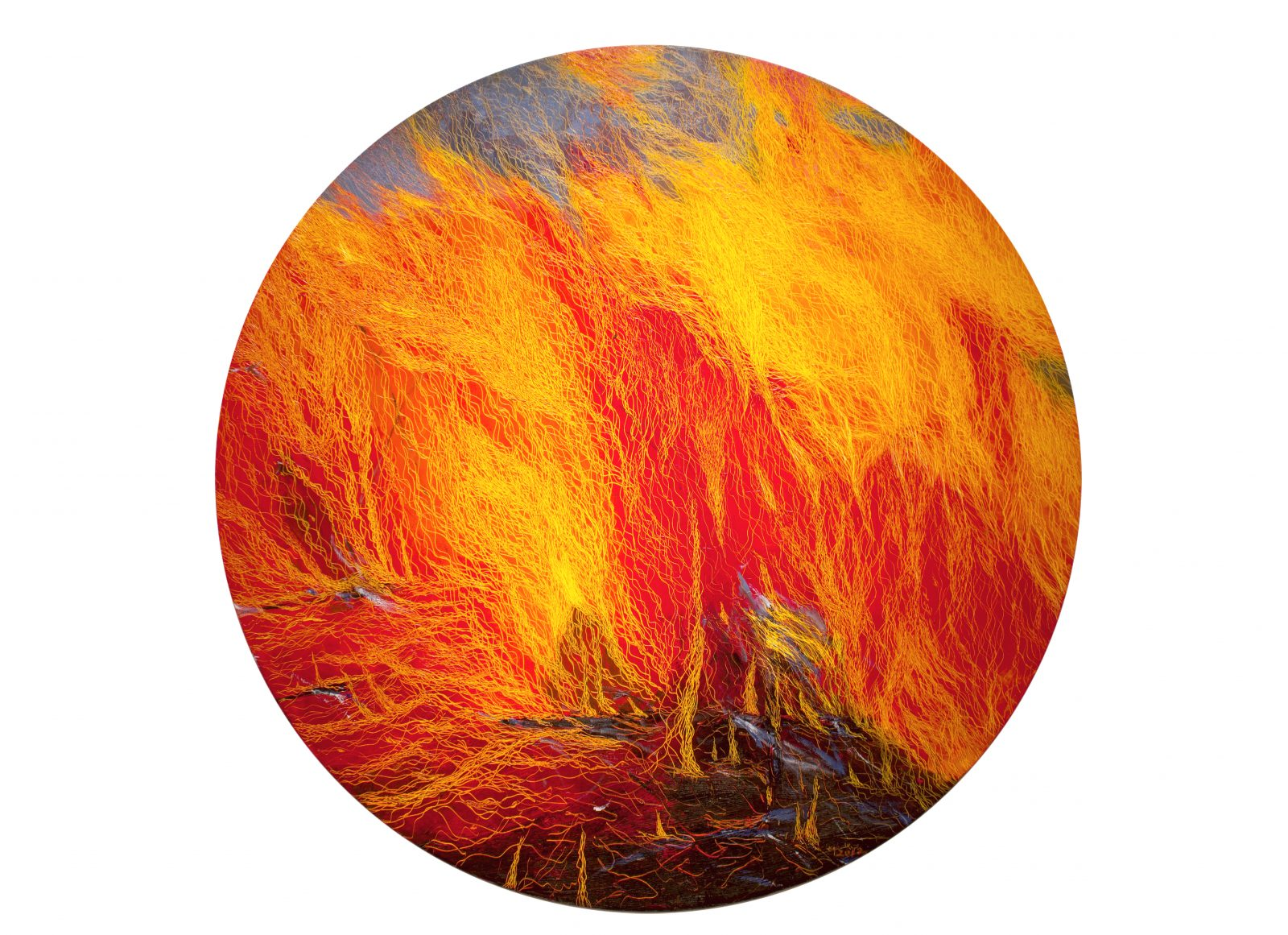 Fire X, 60 diameter, oil on canvas, 2012