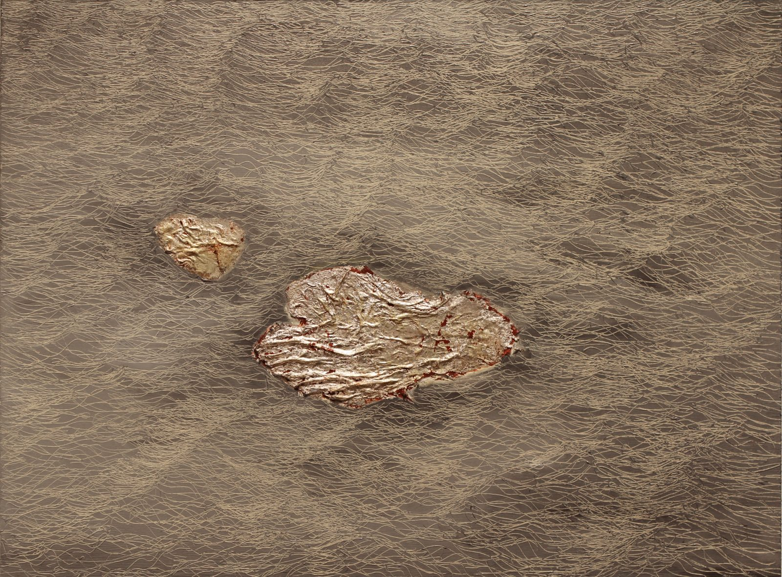 S2,18 x 24, pure silver, red clay, oil paint, 2013