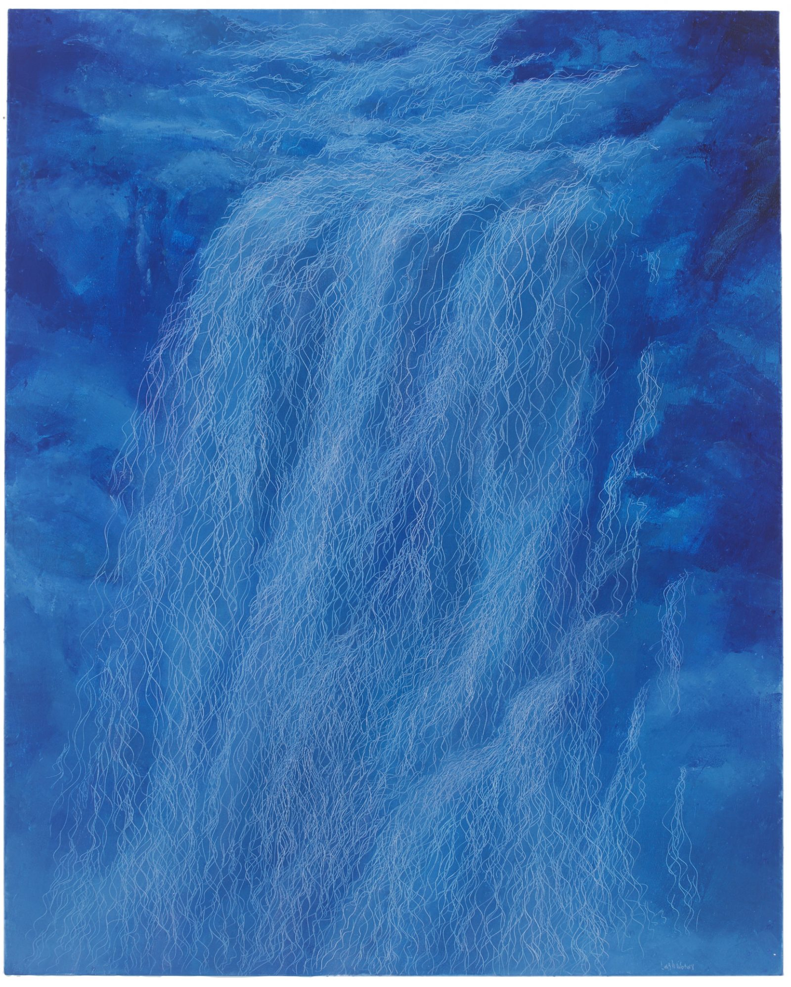 瀑布V, Waterfall V, 162 x 130 cm, oil on linen, 2017